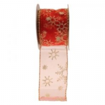 RED WIRED EDGE RIBBON  RI7134